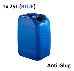 1 x 25 LITRE 25L PLASTIC BOTTLE JERRY WATER CONTAINER CANISTER ANTI GLUG - BLUE