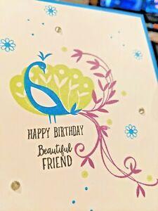 Peacock Handmade Greeting Card, birthday bird, party celebrate, party,