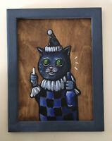 N Scott Carroll Blue Beer Clown Cat Harlequin wood folk pop lowbrow art painting