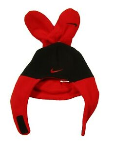 Nike Infant Black/Red Fleece Chin Strap Hat & Mittens Set