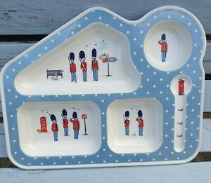 Cath Kidston Melamine Kids Dinner Plate London Soldiers Sectioned
