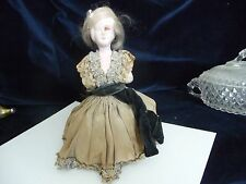 #315 vtg antique pin cushion Bottom AS IS Composition body Victorian women Dress