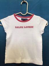 RALPH LAUREN GIRLS CAP SLEEVE WHITE/PINK  SHIRT SZ M