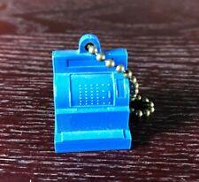 "National Cash Register Ncr Vintage Plastic Keychain Charm Blue 7/8"" Tall"