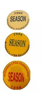 Lot Of 3 LPGA McDonald's Championship Buttons, 1992,1994 And 1998