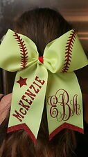 Personalized Softball Vine Monogrammed Cheer Style Hair Bow w/ Red Glitter Tails