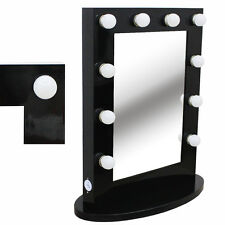 Hollywood Tabletops Lighted Makeup Mirror Vanity  Black Dimmer+FREE 12 LED bulbs