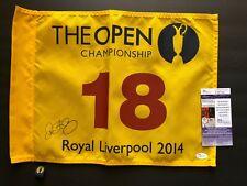 Rory McIlroy signed 2014 Royal Liverpool Open Championship Pin Flag JSA COA