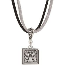 """NEW Sisters Are Angels Charm Pendant Necklace on 16"""" Two Tone Cord and Extender"""