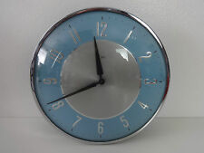 Metamec Clock Blue & Silver Vintage wind up mechanical round wall clock 7 inches