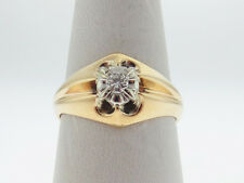 (VS) Genuine Diamond Solid 10K Two-Tone Gold Ring Free Sizing