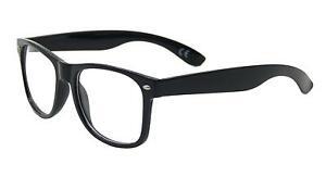 Fake Retro Geek Nerd Glasses Clear Lens Black Square Frame Unisex Fashion UV