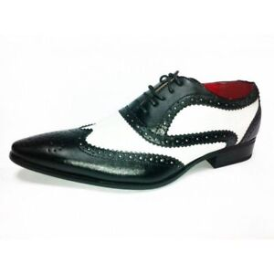 Mens Gangster Party Dress Leather Look Spats Brogues Lace Up Shoes Black Size 9