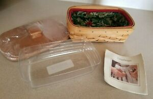 NEW Longaberger Christmas Biscuit Basket, Liner, Protector, Wood Lid,HOLLY/BERRY