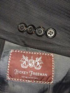 NWT Hickey Freeman Neiman BEACON Black Striped Suit Wool Jacket 48R Pants 36