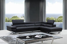 Free Shipping Quebec Modern Black Eco-Leather Sectional Sofa For Living Room