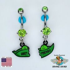 Best Friend Dangle Belly Navel Ring Set 2 Peas In A Pod BFF Belly Button Rings