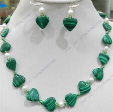TRUE WHITE CULTURED &HEART GREEN GORGOUESE MALACHITE PEARL NECKLACE EARRING SET