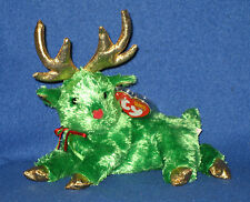 TY SLEIGHBELLE the GREEN REINDEER BEANIE BABY - MINT with MINT TAGS