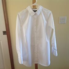 LANDS' END Plus Size 18W White No Iron Supima Cotton Shirt Top Long Sleeves EUC