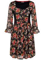 Joe Browns ladies blouse top tunic plus size 16 black ditsy print floaty