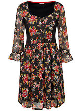 Joe Browns ladies blouse top tunic plus size 24 black ditsy print floaty