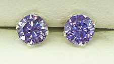 AMETHYST SILVER STUD EARRINGS PURPLE ROUND 5mm CREATED DEEP AMETHYST STUD s1030