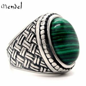 MENDEL Mens Stainless Steel Braided Faux Green Malachite Stone Ring Size 7 8-15