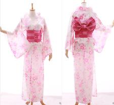k-024 bianco rosa Brillantini Farfalla Fiori Kimono Giapponese Yukata Obi