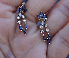 .30ct Diamond 1.20ct blue sapphire diamond dangling earrings 14k YG