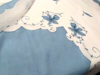 Vintage Hand Embroidered White Linen Blue Cotton Appliqué Tablecloth 43x43 Inch