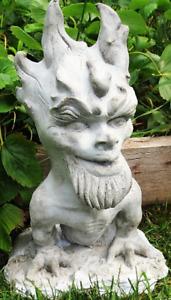 "Flaming-Headed Gargoyle 15"" Folk Art Sculpture for Home & Garden, by Claybraven"