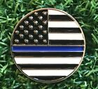 US Flag Thin Blue Line Golf Ball Marker With Magnetic Hat Clip