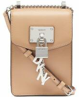 DKNY Elissa Pebble Leather Charm Chain Strap Crossbody Bag (Latte) Handbag