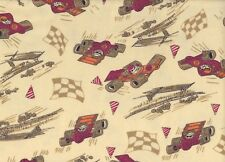 Yellow Racing Cars Flannelette