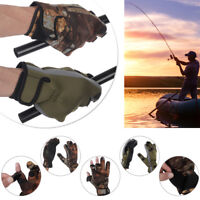 PU Leather Keep Warming Fishing Gloves Breathable 3 Finger Cut Anti-Slip Glove .