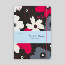 A5 Ruled Notebook from Matilda Myres - A5 Lined Notebook - Floral - Black