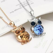 Austria Crystal Rhinestones Blue Brown Owl Chain Necklace Pendant Gift Jewellery