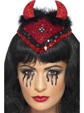 Demonic Dita De Vil Skull Cap Hat Devil Horns - Halloween Mens Fancy Dress