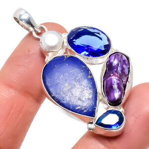 "Copper Blue Turquoise, Biwa Pearl Ethnic Silver Jewelry Pendant 2.0"" PRJ731"