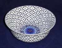 "DECORATIVE BOWLS - ""GRAND PALACE"" BLUE & WHITE PORCELAIN CENTERPIECE BOWL"