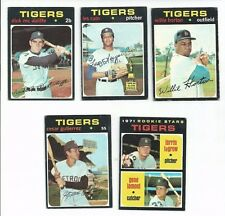 1971 TOPPS BASEBALL GROUP of 5 DETROIT TIGER CARDS - VERY GOOD CONDITION