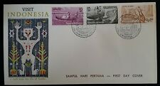 1961 Indonesia  Tourism FDC ties 3 stamps cancelled Bandung