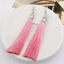 1Pair Fashion Long Tassel Dangle Thread Fringe Drop Hook Earrings Women Jewelry