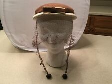 Ladies Vintage Hat Brown Felt or Wool W/ Off White grosgrain Ribbon  Bow W/ Veil