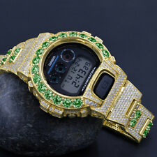 Emerald Green Solitaire Custom Authentic Casio G-Shock DW 6900 Gold Finish Watch