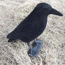 Garden Plastic Flocked Hard Flambeau jet Crow Decoy Hunting Shooting+Stake+Feet