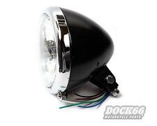 "5 3/4"" phares springer style noir/chrome verre transparent pour Harley-Davidson"