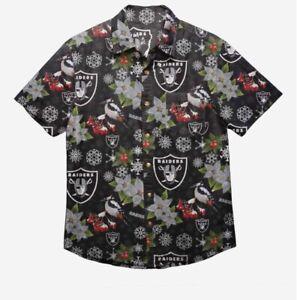 Las Vegas Raiders Oakland Christmas Mistletoe Hawaiian Button Down Shirt Large