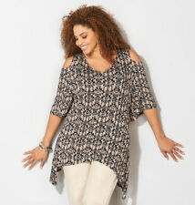 AZTEC PRINT TUNIC Cold Shoulder Knit Sharkbite Hem from THE AVENUE Size 3X NEW